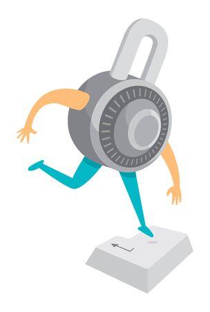 Cartoon illustration of round padlock jumping on enter or return key Illustration