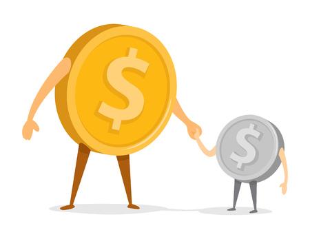 Cartoon illustratie van munten vader en zoon hand in hand