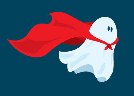 hero: Cartoon illustration of funny super hero ghost flying with costume cape