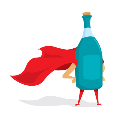 Cartoon illustration of alcoholic beverage bottle standing as super hero Illustration