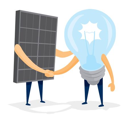 friends together: Cartoon illustration of solar energy panel shaking hands with light bulb