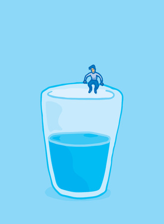 ledge: Cartoon illustratrion man about to jump into glass of water Illustration