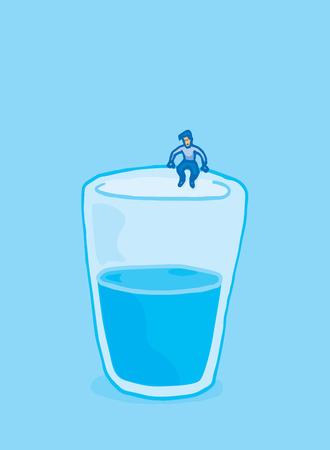 sentarse: Illustratn de dibujos animados hombre a punto de saltar en un vaso de agua