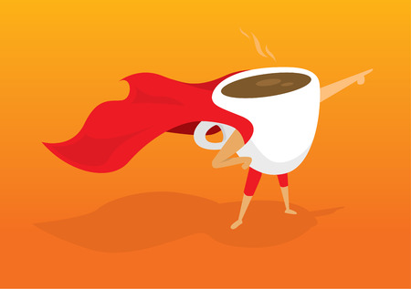 drinking coffee: Cartoon illustration of super hero coffee pointing at sunrise breakfast Illustration