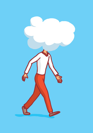 Cartoon illustration of man walking with clouded mind