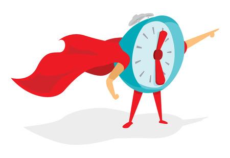 Cartoon illustratie van Time Super Hero of wekker met cape