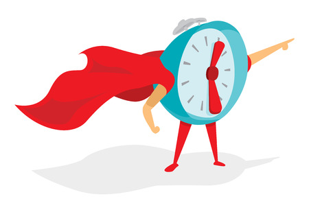 Cartoon illustration of time super hero or alarm clock with cape
