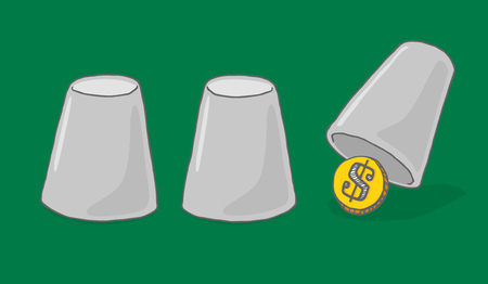hiding: Cartoon illustration of money hiding under a cup or business opportunity