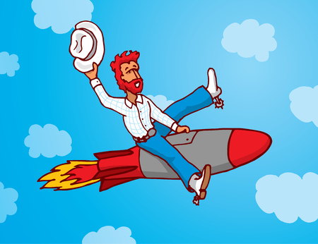 provocation: Cartoon illustration of cowboy riding a missile as rodeo Illustration