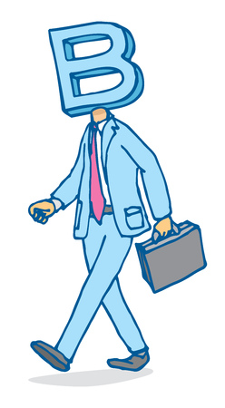 runner up: Cartoon illustration of businessman walking with business on his mind