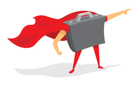 follow the leader: Cartoon illustration of portfolio standing as business super hero with cape