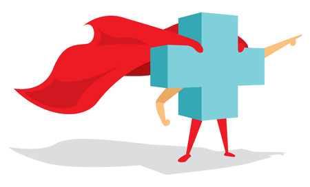 Cartoon illustration of medical health cross super hero with cape