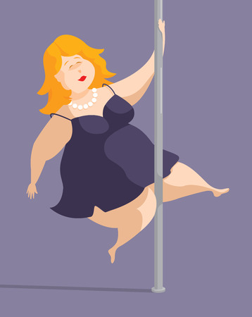 self conscious: Cartoon illustration of curvy plus sized woman pole dancing
