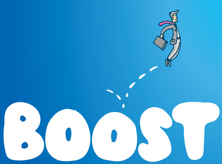 boost: Cartoon illustration of businessman bouncing on boost word