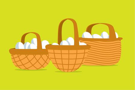 cartoon egg: Cartoon illustration of many eggs put in different baskets