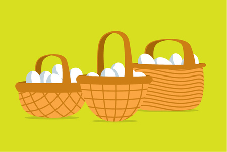 huevo caricatura: Ilustración de dibujos animados de muchos huevos en diferentes canastas puso Vectores