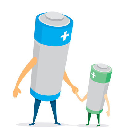 father and son holding hands: Cartoon illustration of battery father and son holding hands