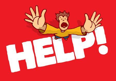 man begging: Cartoon illustration of man begging for help with open hands Illustration