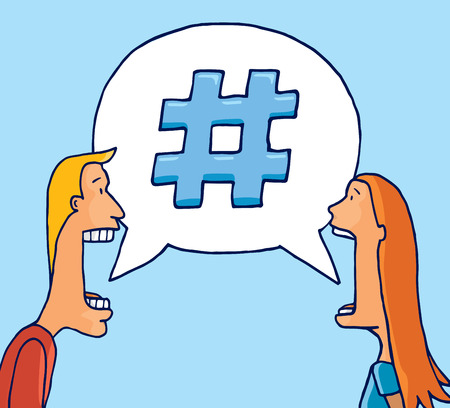Cartoon illustration of couple sharing a topic on social media chat