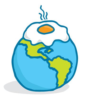 Cartoon illustratie van de opwarming van de aarde of een ei te bakken over de planeet aarde