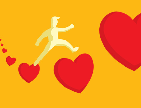 Cartoon illustration of man in love jumping between hearts