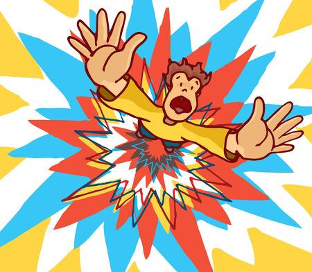 blow up: Cartoon illustration of man blown away by huge colorful explosion