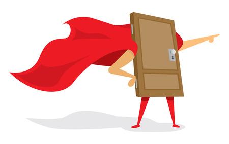 door to door: Cartoon illustration of door with cape as super hero