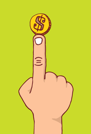 coin toss: Cartoon illustration of coin balancing on a finger