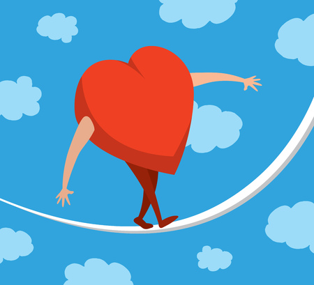 love concepts: Cartoon illustration of heart or love portfolio balancing on a string