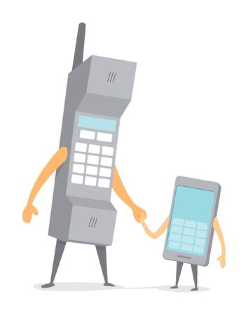 telephone cartoon: Cartoon illustration of mobile phone father and smartphone son holding hands