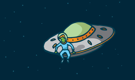 pensive: Cartoon illustration of a pensive alien sitting in his spaceship looking down