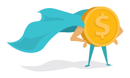 Illustrazione del fumetto di super eroe moneta piedi con orgoglio di mantello Vettoriali