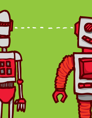 sharing information: Cartoon illustration of two different robots communication sharing information or connecting