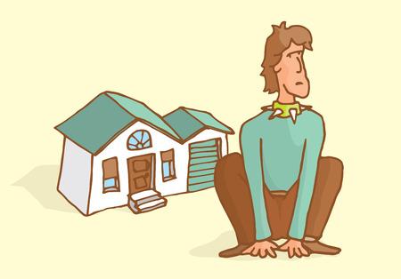 guarding: Cartoon illustration of determined man guarding home like a dog