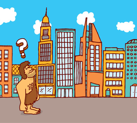 Cartoon illustration of caveman feeling lost in the city