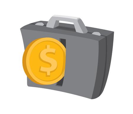 pay raise: Cartoon illustration of coin or money entering a business portfolio