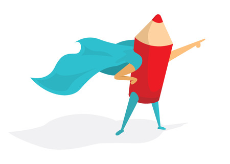 Cartoon illustration of super artist or pencil standing with hero cape