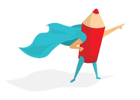 Illustrazione del fumetto di super-artista o di una matita in piedi con mantello eroe Vettoriali