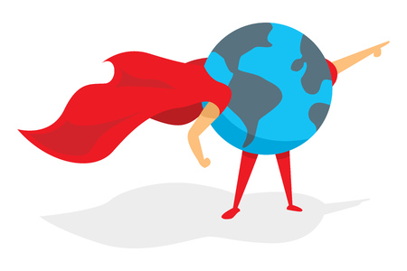 Cartoon illustration of planet earth super hero standing with cape
