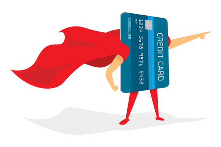 cape: Cartoon illustration of super credit card hero pointing with cape