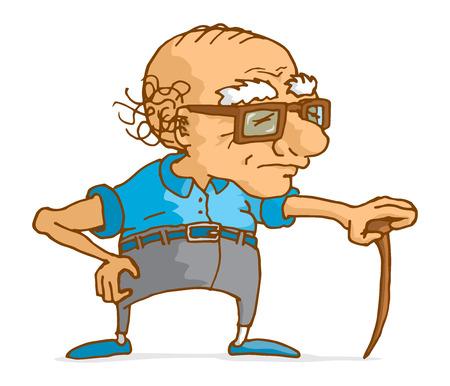 Cartoon illustration of senior man leaning on wood cane