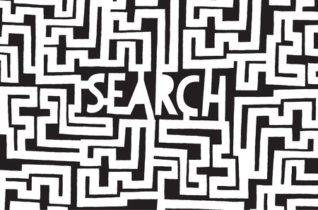 Cartoon illustration of search word as a complex concept