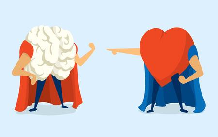 Cartoon illustratie van super held strijd tussen hersenen en het hart