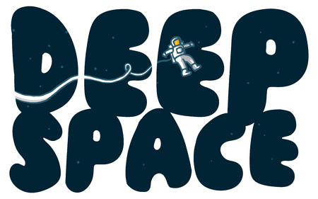 lost in space: Cartoon illustration of astronaut exploring deep space