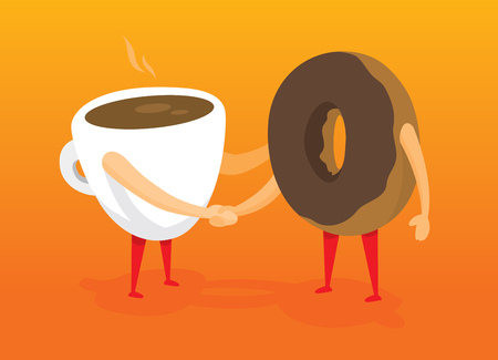 friends together: Cartoon illustration of coffee and donut friends shaking hands