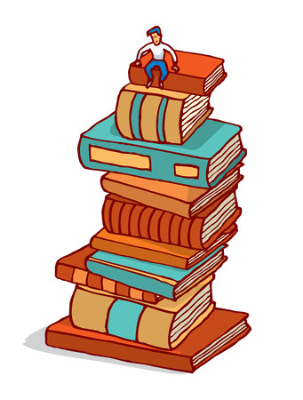 Cartoon illustration of tiny man sitting in pile of books building education