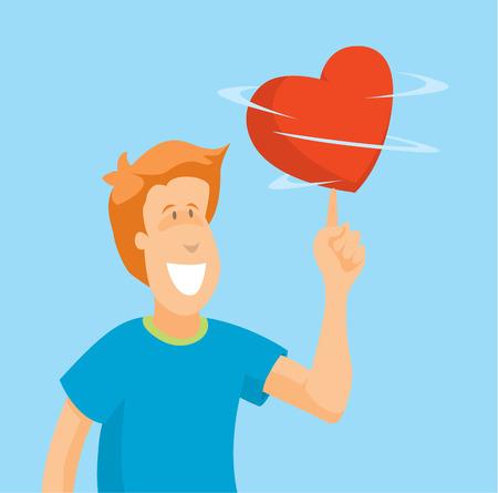 spinning: Cartoon illustration of man playing with spinning heart Illustration
