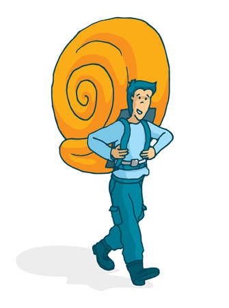 nomad: Cartoon illustration of adventurous man carrying a snail shell as backpack