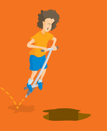 bounce: Cartoon illustration of kid jumping on pogo stick towards pit or hole Illustration