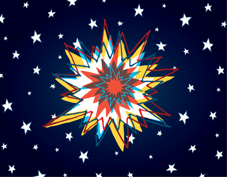 Cartoon illustration of big bang or powerful explosion in space 向量圖像